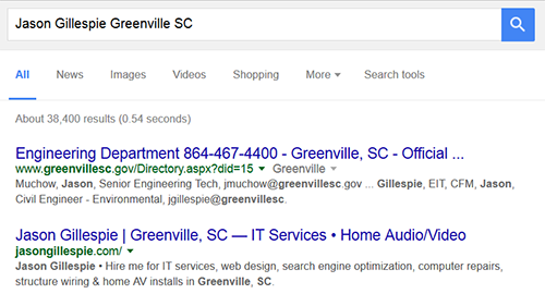 "Phrase, ""Jason Gillespie Greenville, SC"", search results"