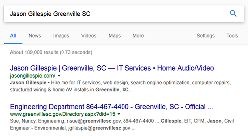 Local search results update for Greenville, SC