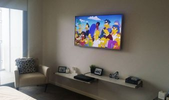 TV Installation Design Ideas with Floating Shelves Below