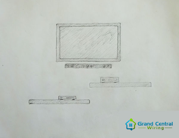 TV installation design sketch drawing